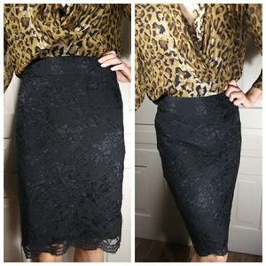 Banana Republic lace pencil skirt tapered floral 6